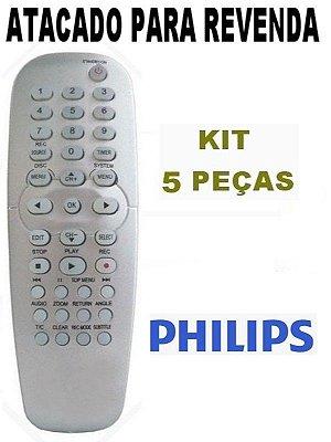 Controle Remoto Gravador De Dvd Philips Dvd-r 3350 /  Dvd-r 3380 /  Dvd-r 3355 Kit com 5 Peças