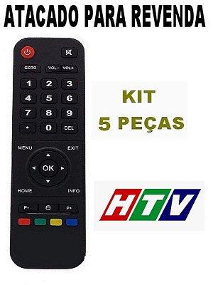 Controle Remoto Receptor Smart Tv Htv Box 3 Iptv Wi-Fi Hd Android Netflix Atacado Kit com 5 Peças