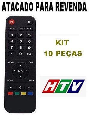 Controle Remoto Receptor Smart Tv Htv Box 3 Iptv Wi-Fi Hd Android Netflix Atacado Kit com 10 Peças