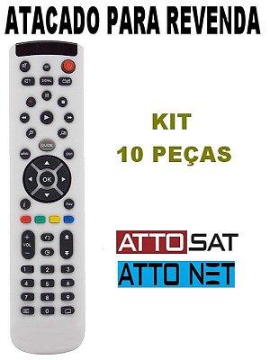 Controle Remoto Receptor Atto Net 3 / Atto Net 4 / HD Duo S3 / HD Duo S4 / Atto Sat Elite Atacado Kit com  10 Peças