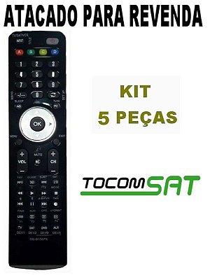 Controle Remoto Tocomsat Duplo HD Antigo Kit com 5 peças