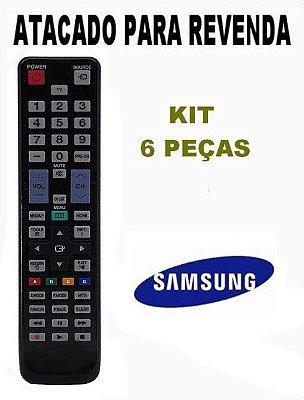 Controle Remoto Tv Lcd Samsung AA59-00469A  AA59-00511A - Kit com 06 Peças