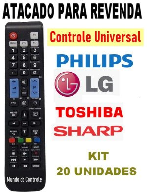Controle Remoto Universal Para Tv Lcd Led Samsung , Toshiba , LG, Sharp,Philips, TCL, Sanyo kIT 20 Peças