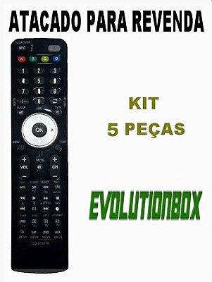 Controle Remoto Receptor Evolutionbox EX-C510 HD Wi-Fi - CCM - CS Kit com  5 Peças