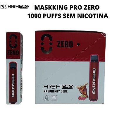 PROMOÇÃO NA VENDA DA CAIXA COM 10 UNIDADES - MK - RASPBERRY COKE - ZERO NICOTINA - MASKKING HIGH PRO  DESCARTAVEL - 1000 PUFFS