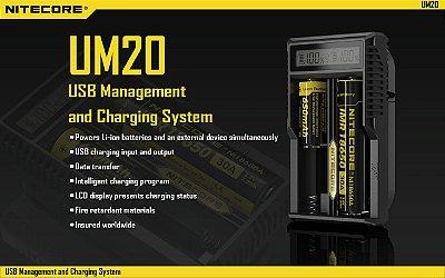 Carregador NITECORE™ UM20 - Painel LCD