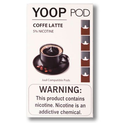 YOOP POD COFFE LATTE 50MG SALT NIC - COMPATÍVEL COM O JUUL