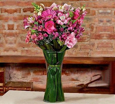 Buquê mix flores cor-de-rosa