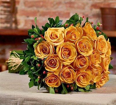 Buquê de rosas laranjas colombianas