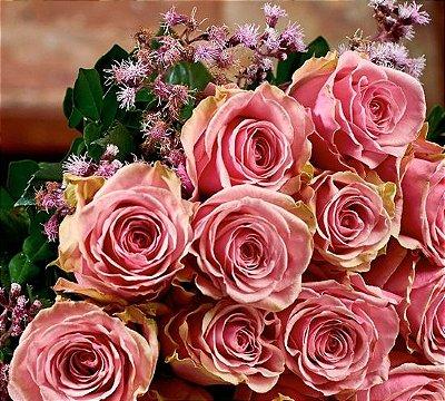 Buquê de rosas colombianas rosa