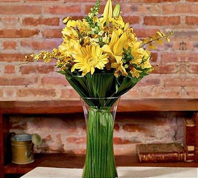 Buquê mix de flores amarelas