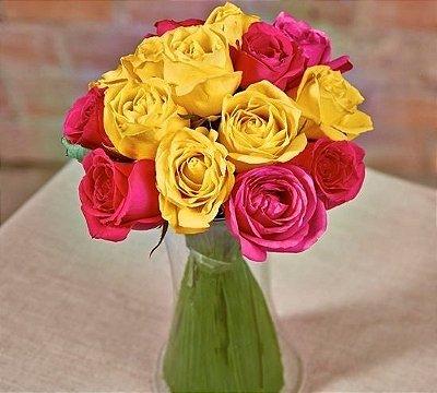 Buquê bicolor de rosas nacionais