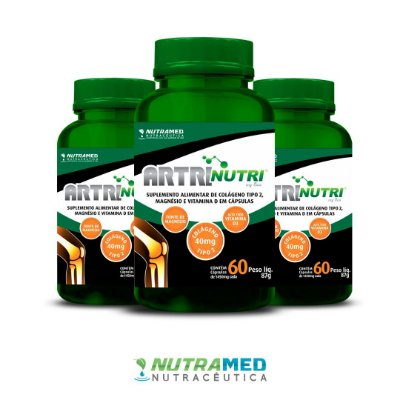 Artrinutri Colágeno Tipo 2 + Magnésio + Vitamina D3 - 60 cápsulas - Kit 3 Unidades