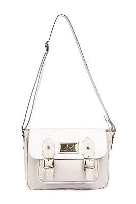 Bolsa Carteiro Estella em couro legítimo marfim