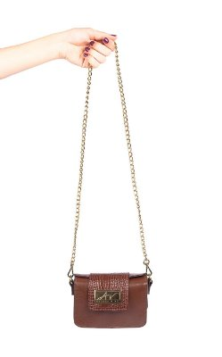 Mini bolsa de festa em couro legítimo pinhão + alça de metal