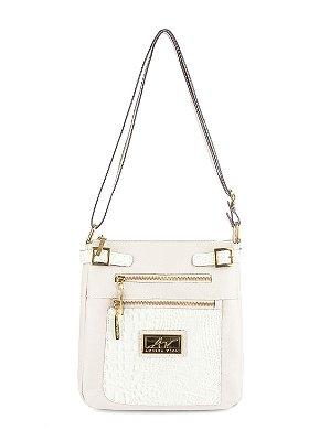 Bolsa Transversal feminina de couro Chloe marfim