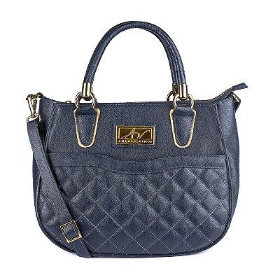 Bolsa Flora em couro legítimo azul