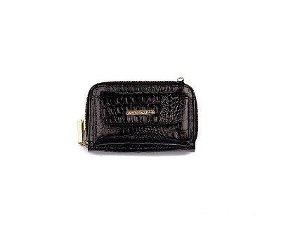 Carteira Mini Bag Mary com alça em couro legítimo preta