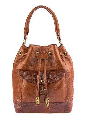 Bolsa saco com bolso em couro legítimo whisky