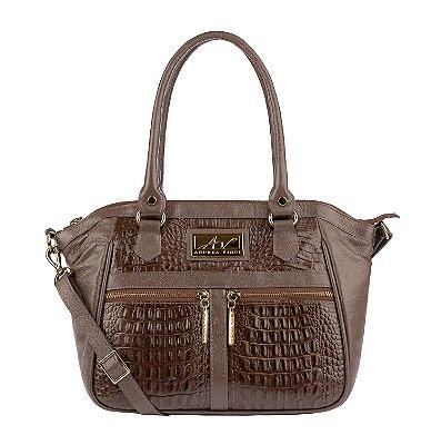 Bolsa Lucy em couro legítimo chocolate