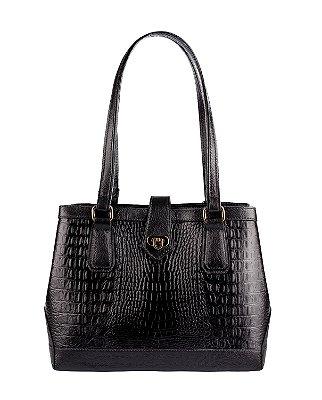 Bolsa Louise em couro legítimo preta