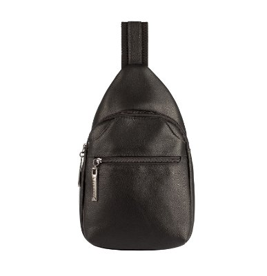 Mini mochila transversal masculina Jeff de couro preta