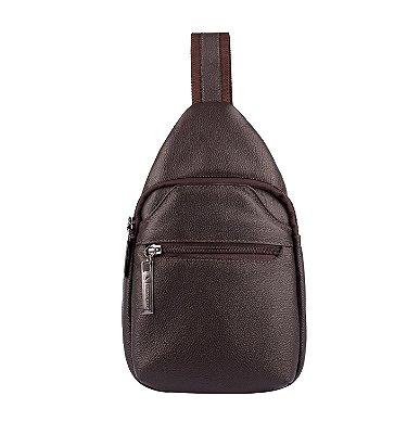 Mini mochila transversal de couro masculina Jeff café