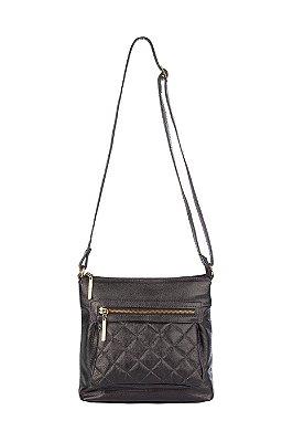 Bolsa tiracolo de couro feminina Bia preta