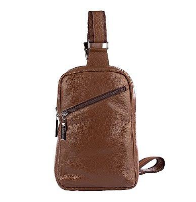 Mini mochila transversal de couro masculina Eric cedro