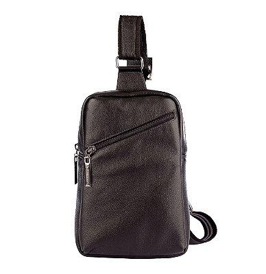Mini mochila transversal de couro masculina Eric preta