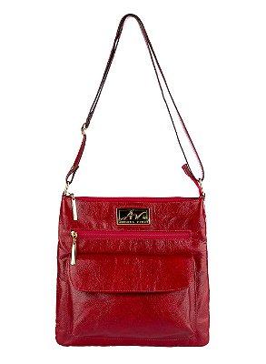 Bolsa Tiracolo de couro legítimo Karen vermelha
