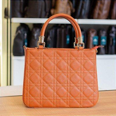 Bolsa Feminina em couro legítimo Beatriz laranja