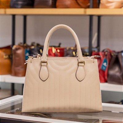 Bolsa de couro legítimo Talita marfim