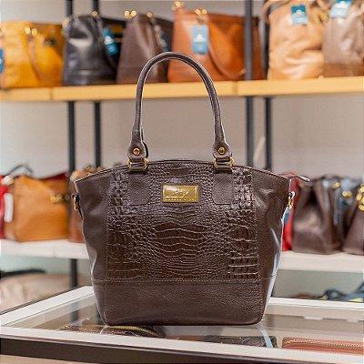 Bolsa Sophy com alça em couro legítimo café