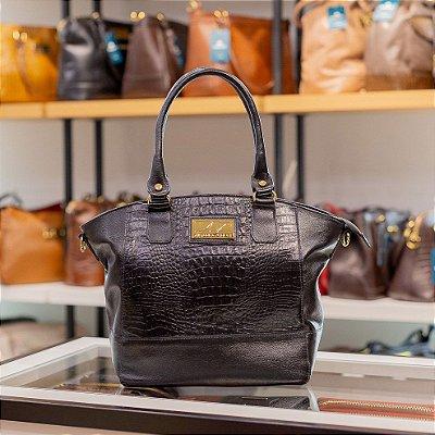 Bolsa Sophy com alça em couro legítimo preta