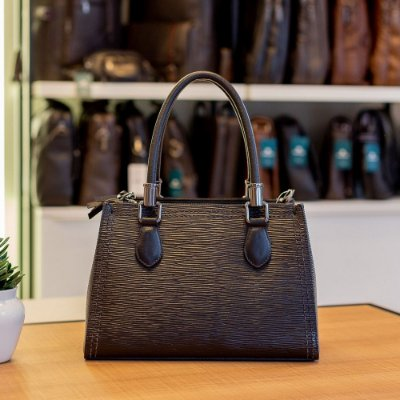 Bolsa de couro legítimo Talita preta tramatto