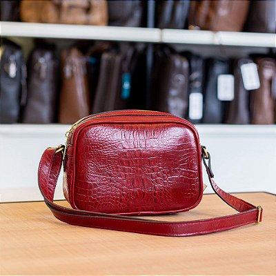 Bolsa tiracolo Diana em couro vermelha