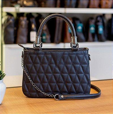 Bolsa de couro com alça de corrente Julia preta