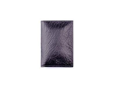 Porta documentos em couro legítimo preto