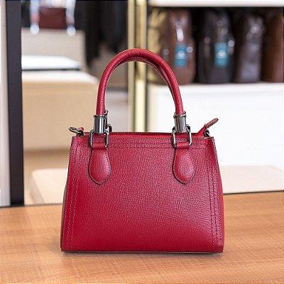 Mini bolsa de couro legítimo Andressa vermelha safiano