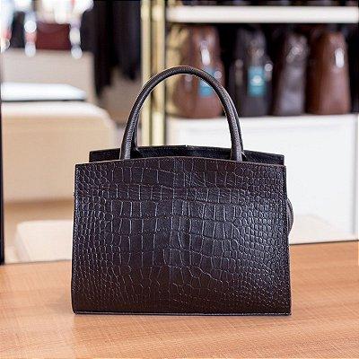 Bolsa de couro legítimo Maitê preta