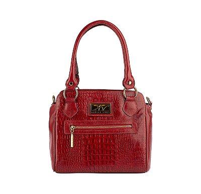 Bolsa de couro legítimo Amélia vermelha