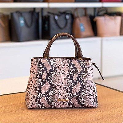 Bolsa de mão Melina em couro café com rosa