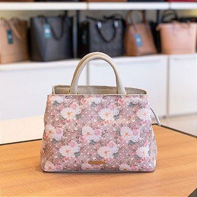 Bolsa de mão Melina em couro marfim floral