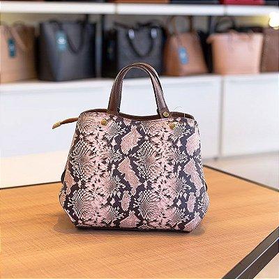 Bolsa de mão em couro Megan café com rosa