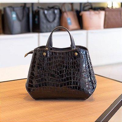 Bolsa de mão em couro Megan preta verniz
