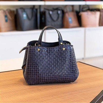 Bolsa de mão em couro Megan azul quadriculado