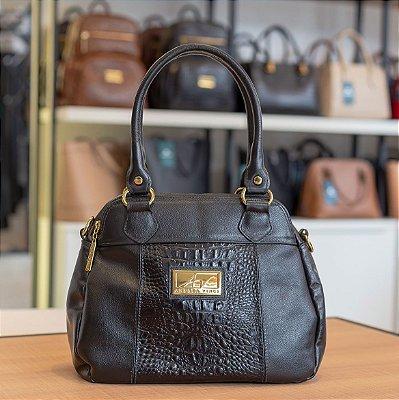 Bolsa de couro legítimo Mônica preta
