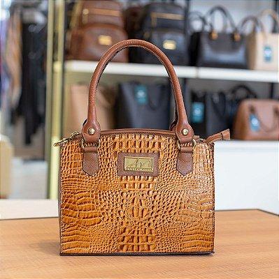 Bolsa de mão em couro Emily caramelo