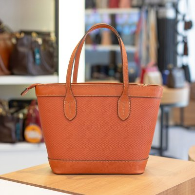 Bolsa de couro legítimo Marina laranja tramado